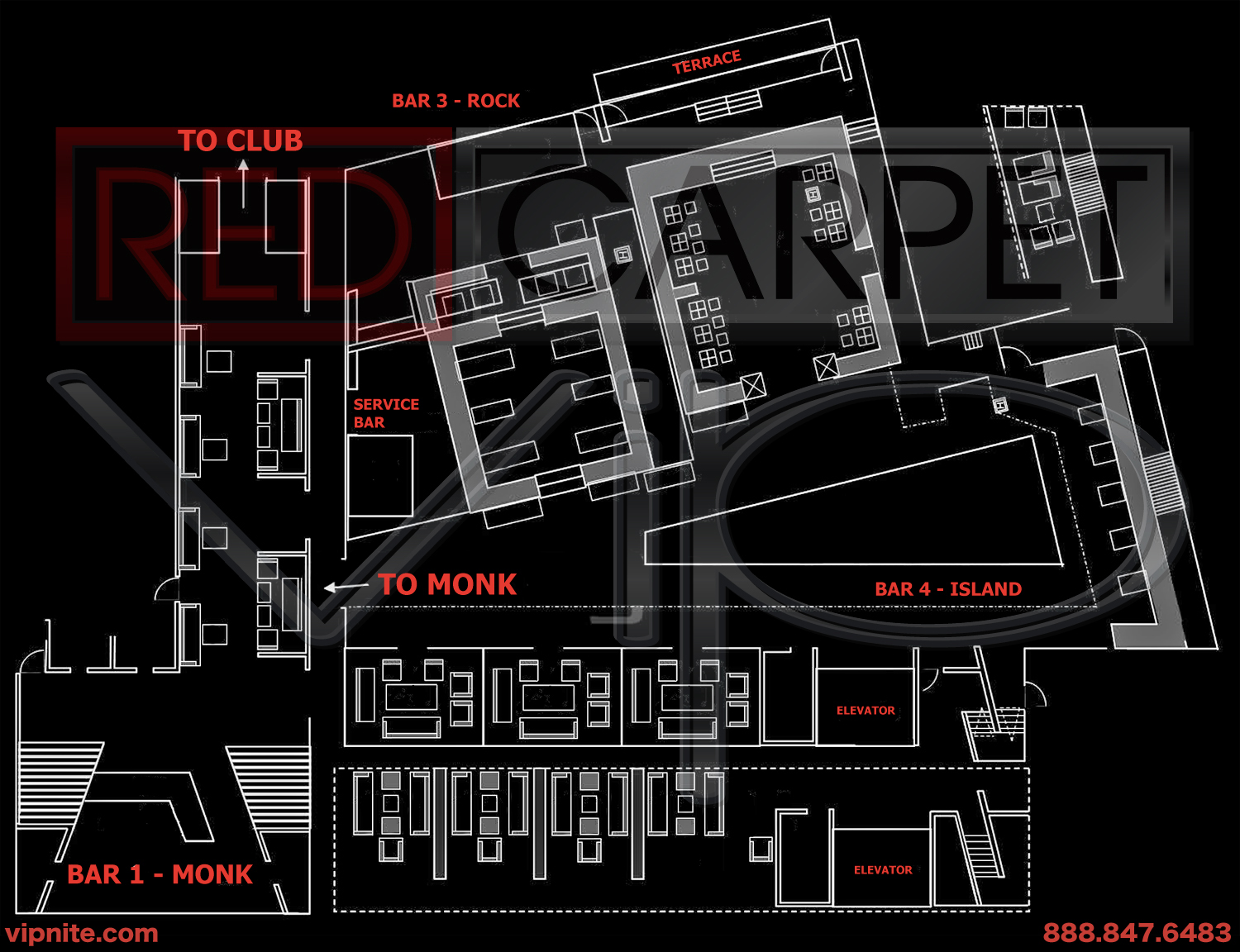 las vegas nightclub maps red carpet vip view large map here
