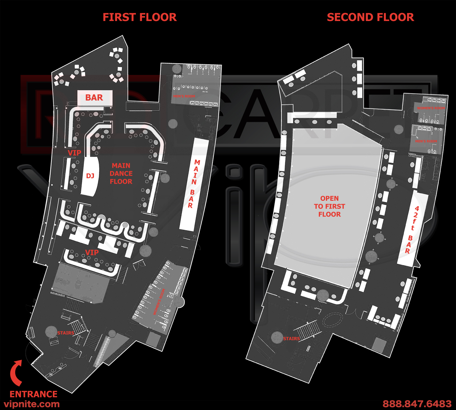 Las Vegas Nightclub Maps Red Carpet Vip