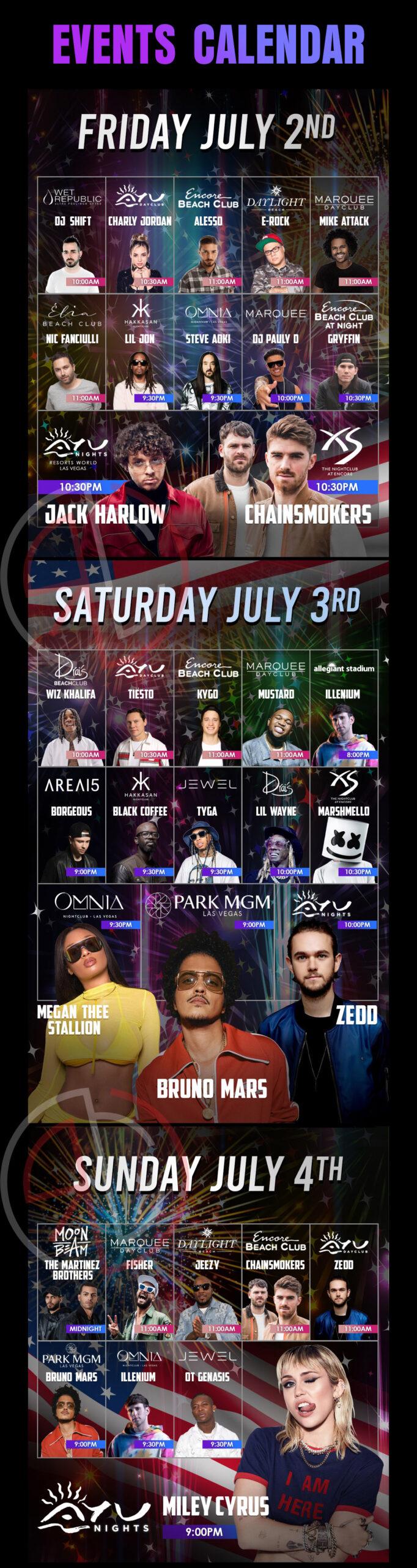 las vegas nightclub and dayclub july 4th of july weekend events