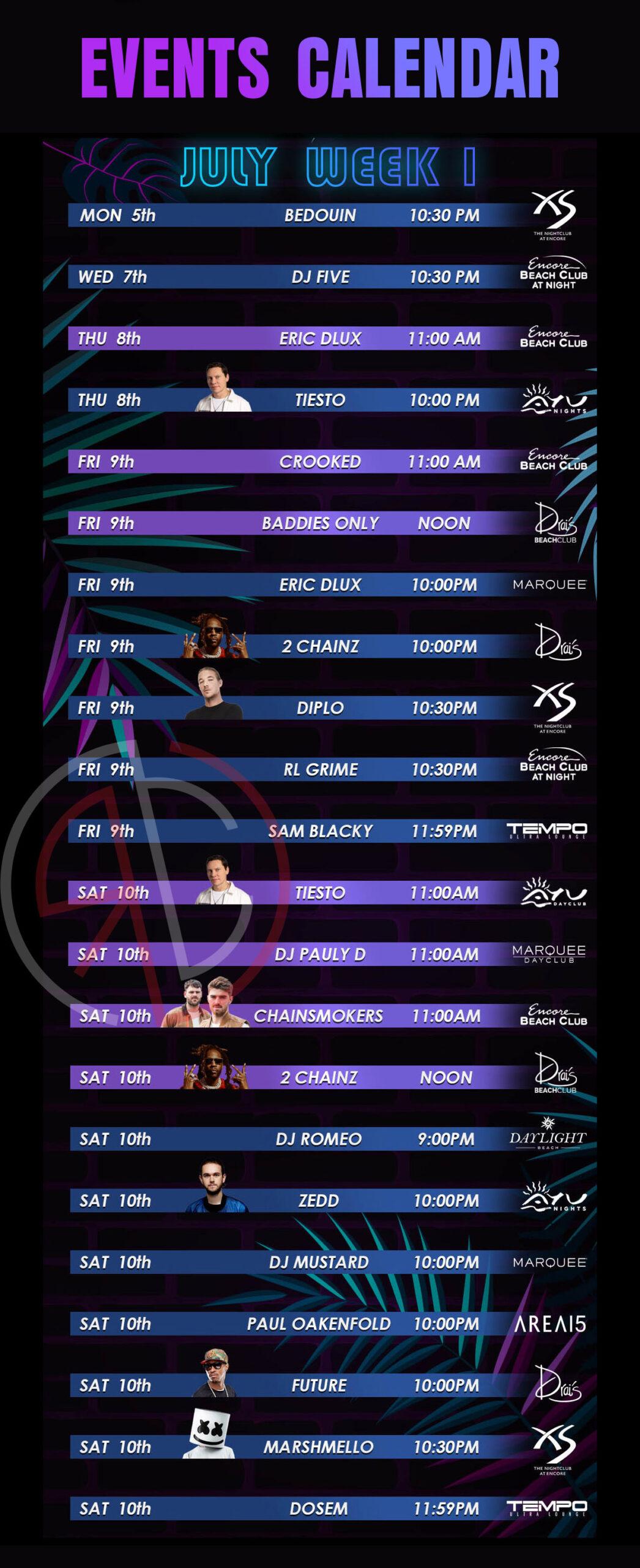 las vegas nightclub and dayclub july 2021 week 1 events calendar
