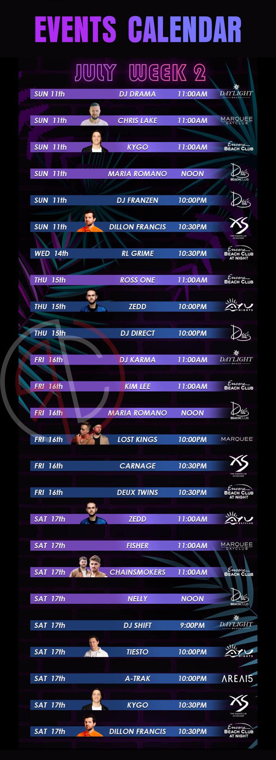 las vegas nightclub and dayclub july 2021 week 2 events calendar