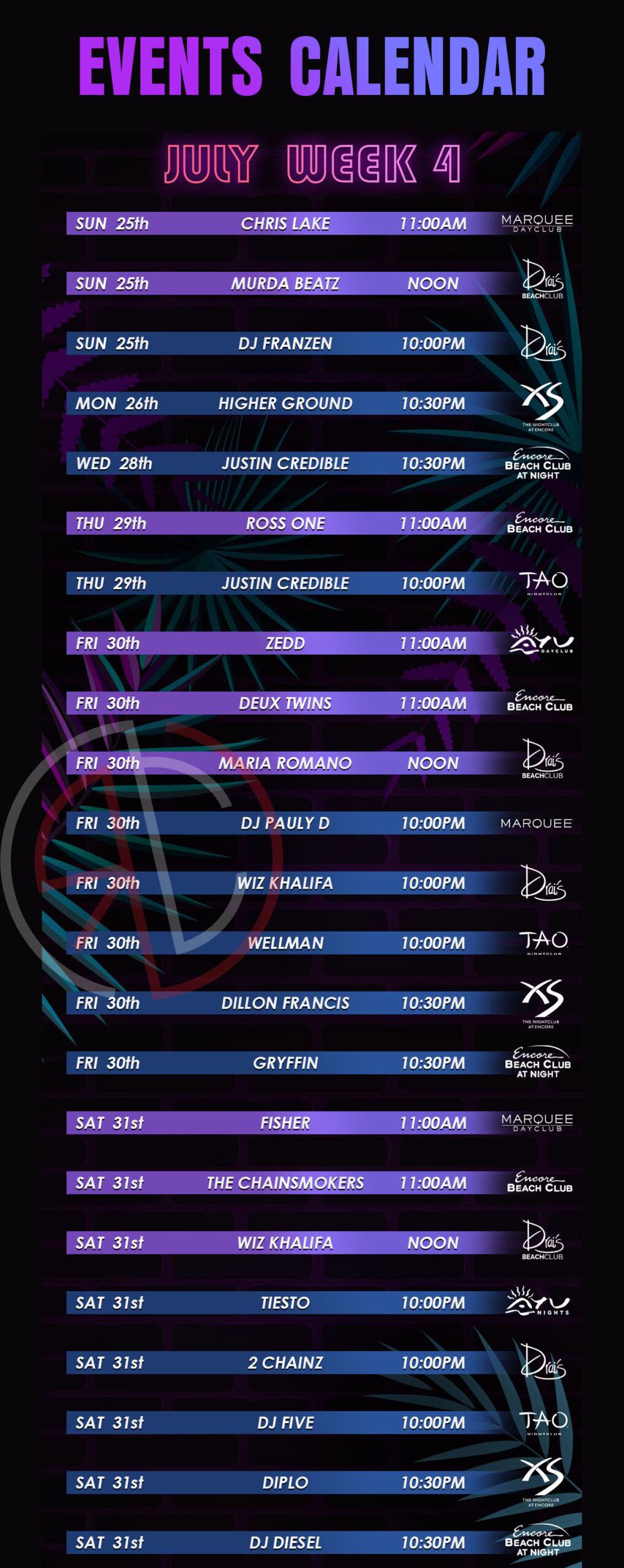 las vegas nightclub and dayclub july 2021 week 4 events calendar